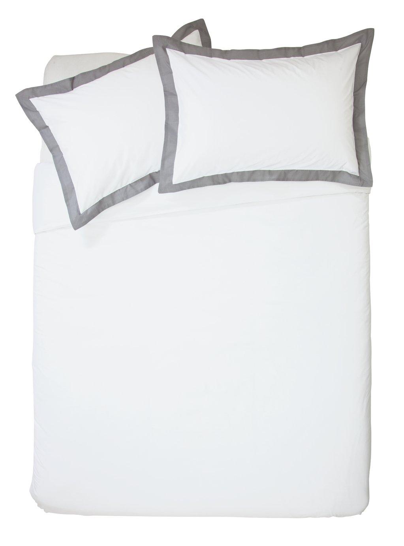 Argos Home White and Grey Oxford Bedding Set - Double