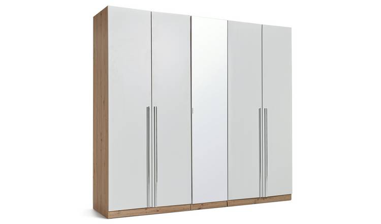 Habitat Munich 5 Door Mirror Wardrobe -White & Oak Effect