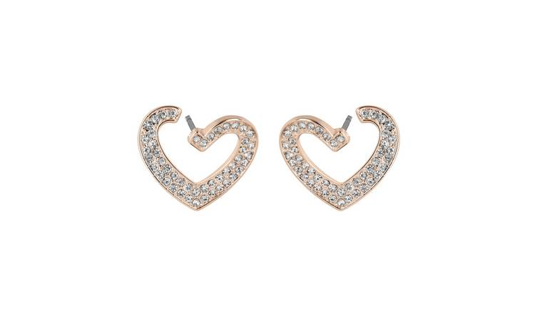 Lipsy Rose Colour Pave Heart Stud Earrings