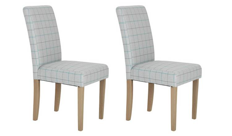 Habitat Pair of Mid Back Dining Chairs - Light Grey Check