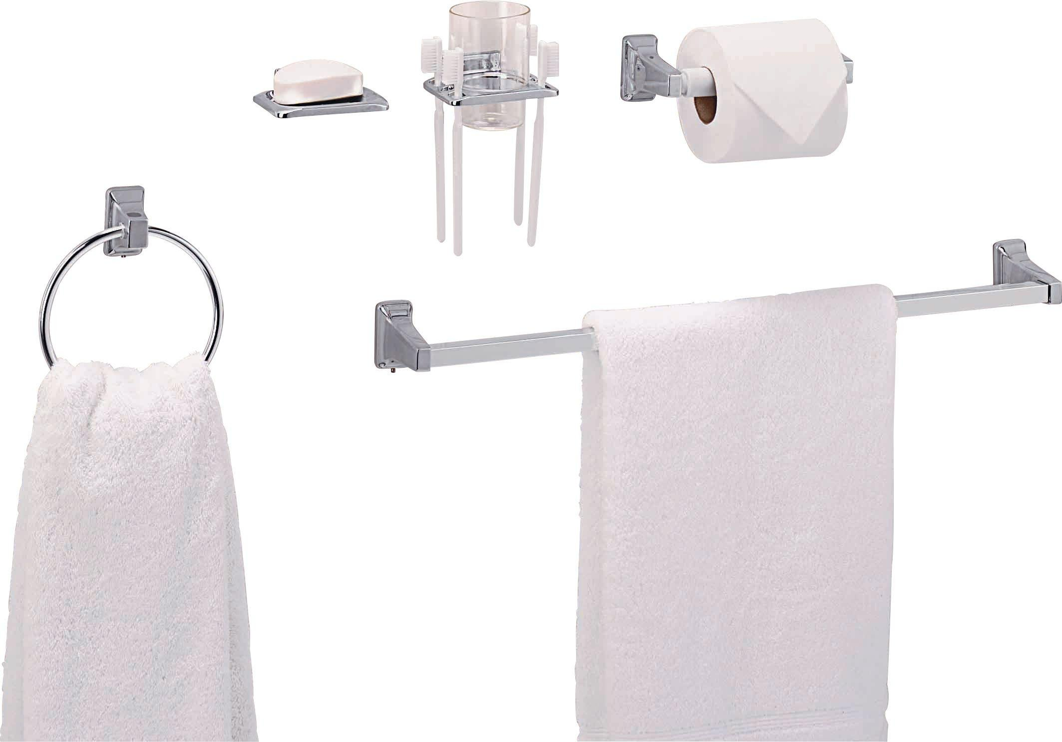 Toilet Accessoires Set : Piece chrome finish bathroom accessory set towel toothbrush