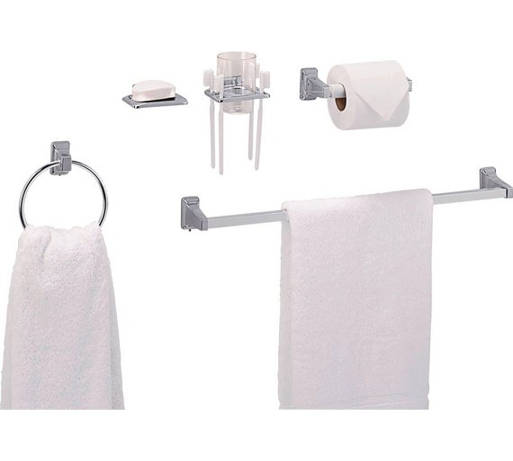 Buy Home Piece Bathroom Accessory Set Chrome Finish At Argos