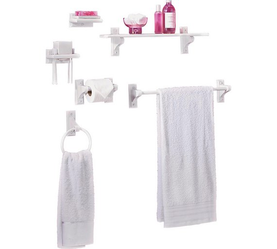 Bathroom Accessories Argos : Buy home wooden piece bathroom accessory set white at