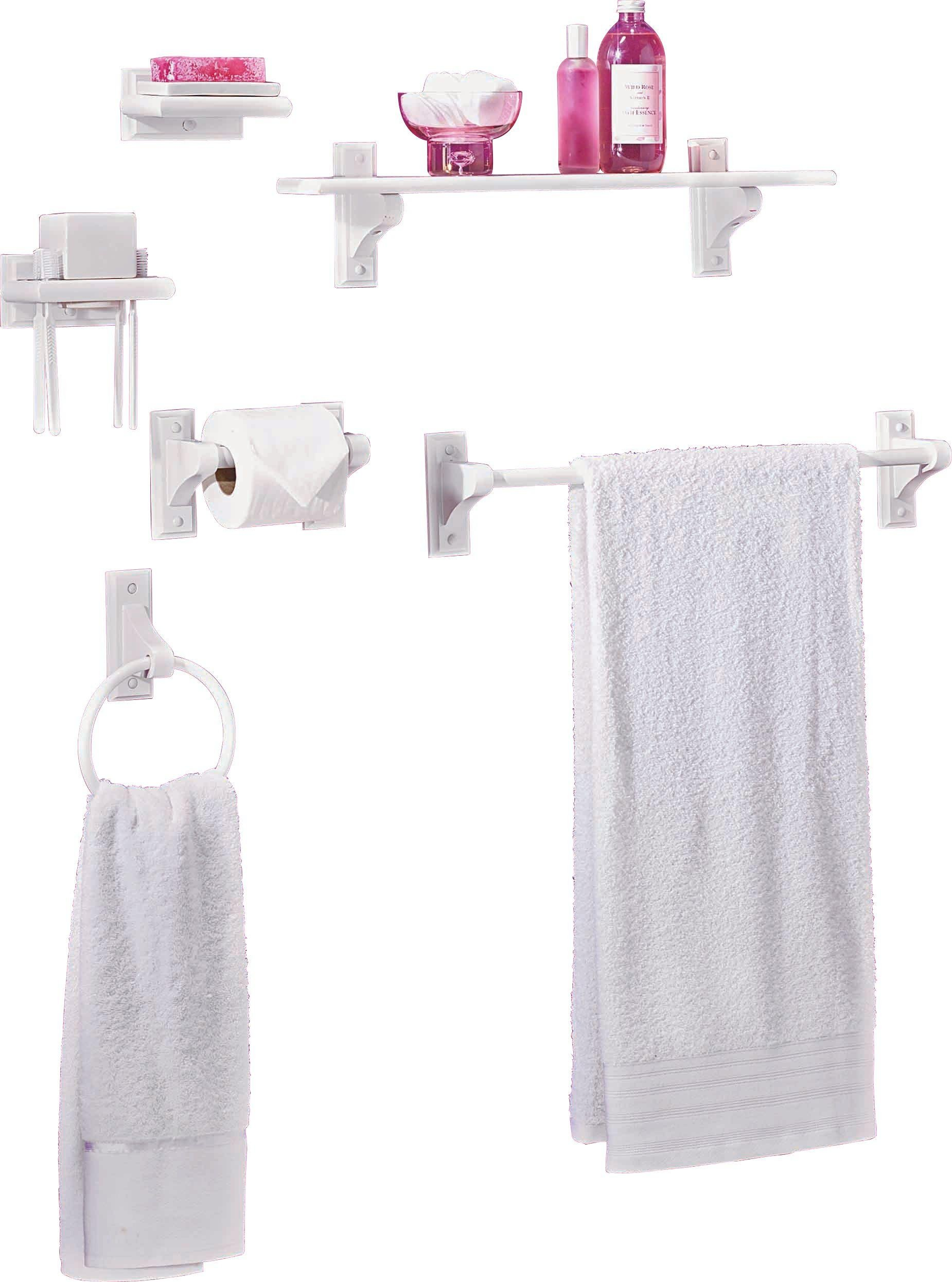 home 6 piece wooden bathroom accessory set white