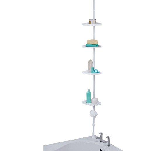 Buy HOME Steel Shower Organiser Pole - White | Bathroom baskets ...