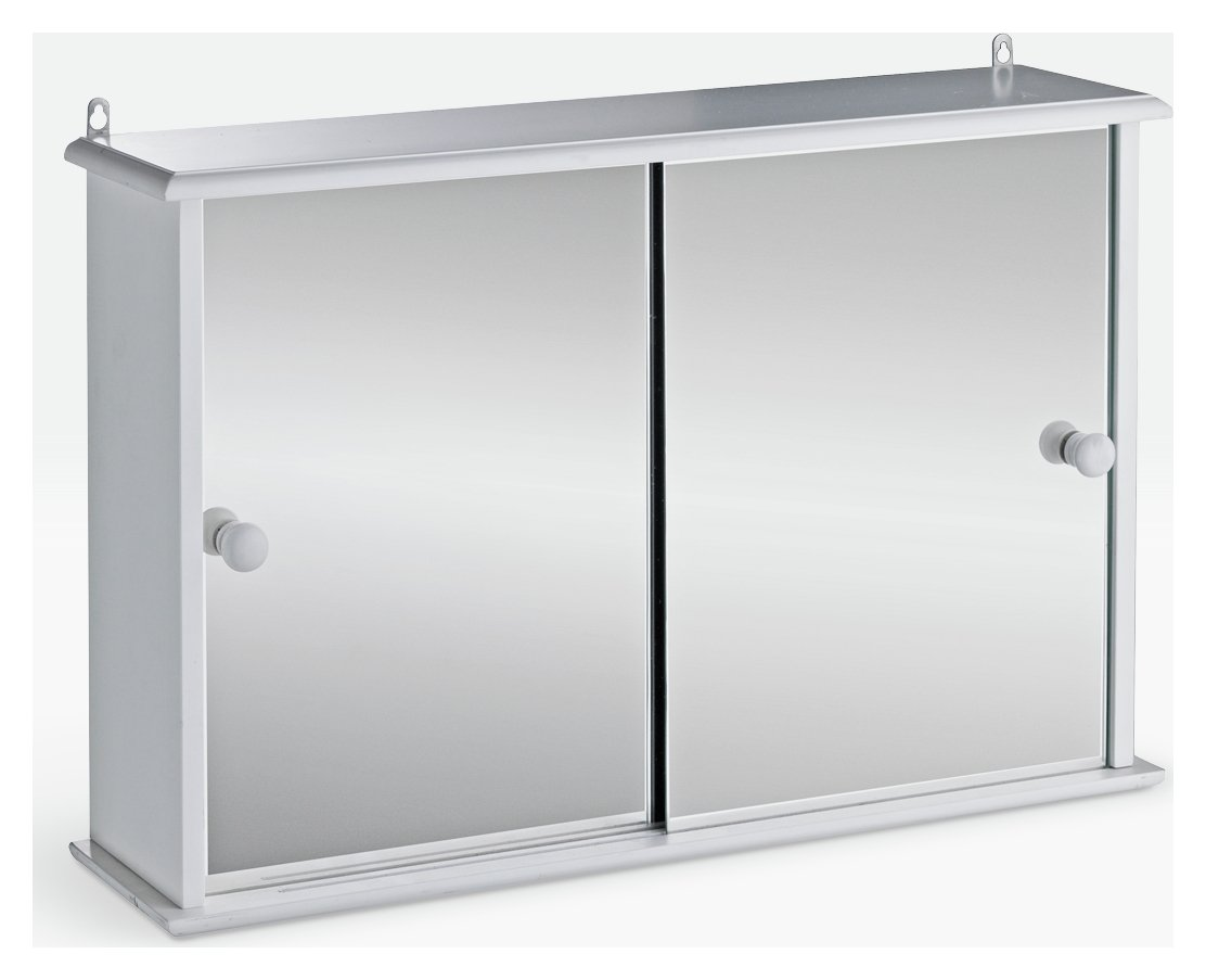 HOME Sliding Door Bathroom Cabinet - White.
