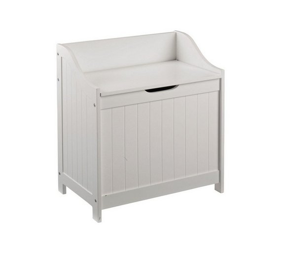 buy home 60 litre monks bench style laundry box white at. Black Bedroom Furniture Sets. Home Design Ideas