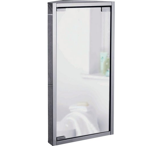 buy home mirrored bathroom corner cabinet stainless steel at argos
