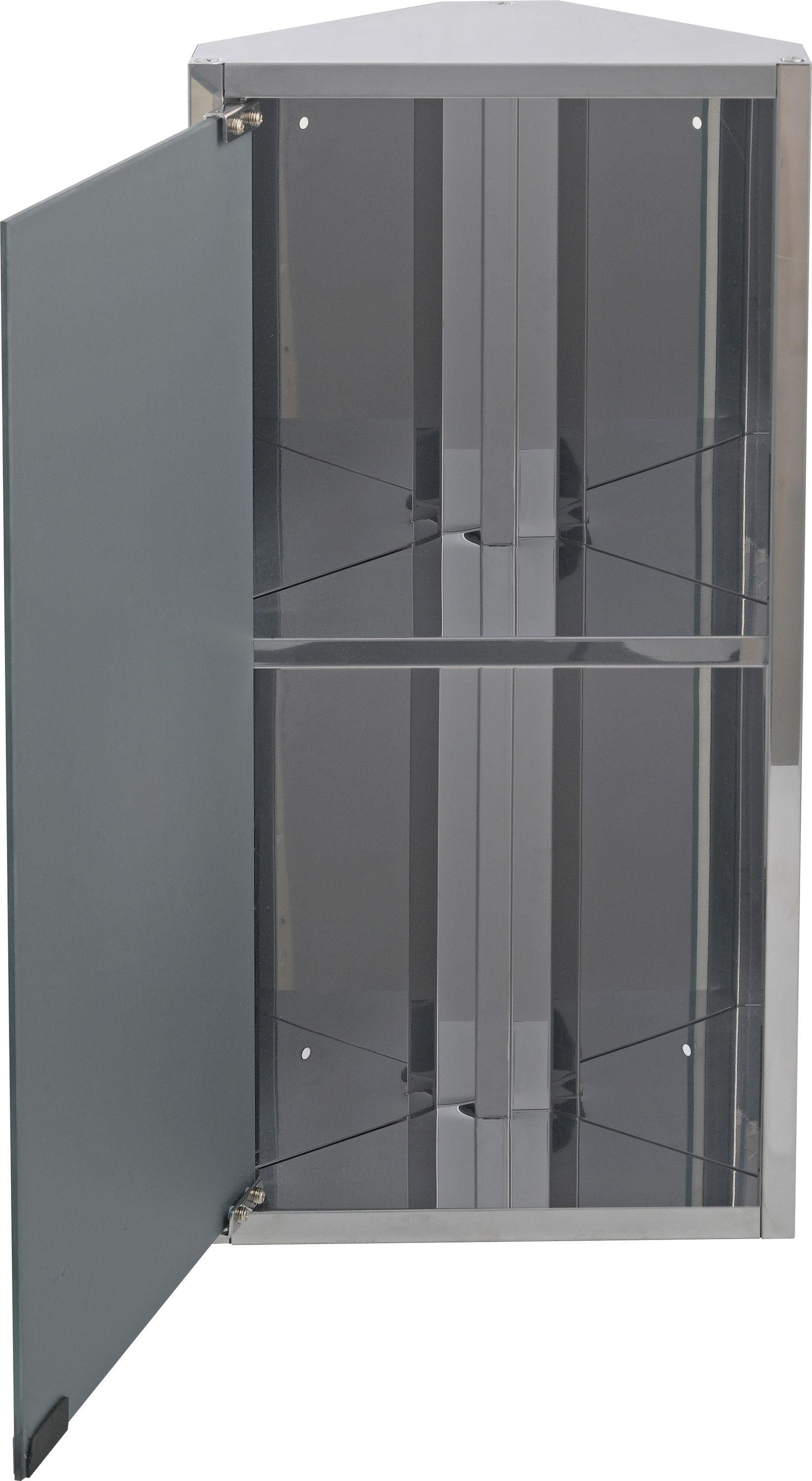 buy home mirrored bathroom corner cabinet - stainless steel at