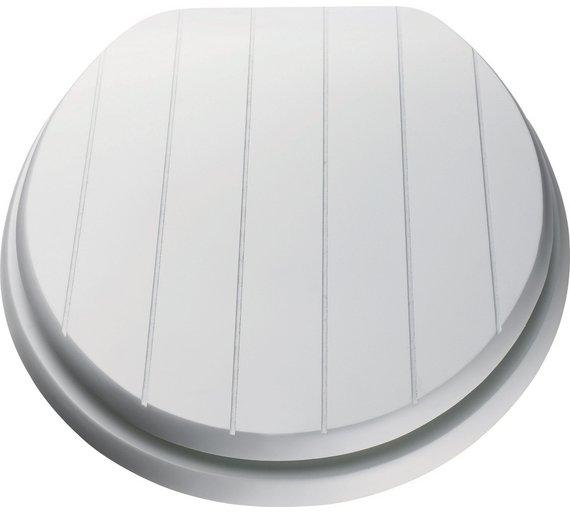 Buy HOME Moulded Wood Shaker Style Toilet Seat White At Argosco - Black wooden toilet seat