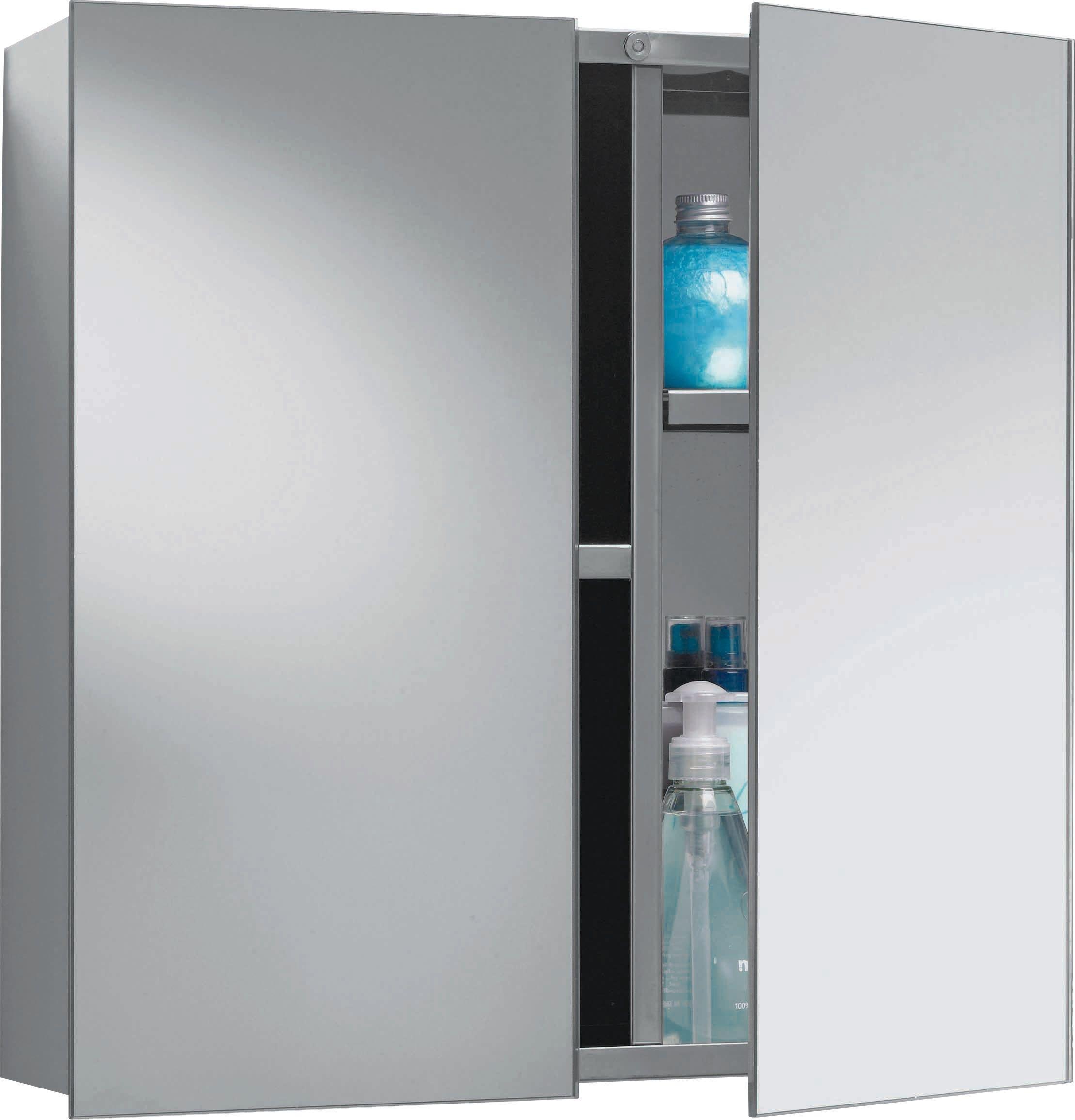HOME 2 Door Mirrored Stainless Steel Bathroom Cabinet