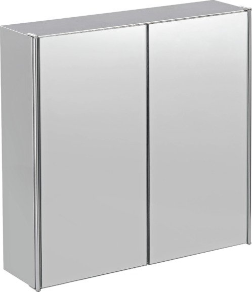 Buy Home Double Door Mirrored Bathroom Cabinet Stainless Steel