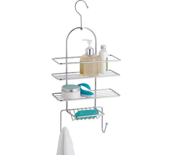 Buy HOME 2 Tier Hookover Shower Caddy - Chrome | Bathroom baskets ...