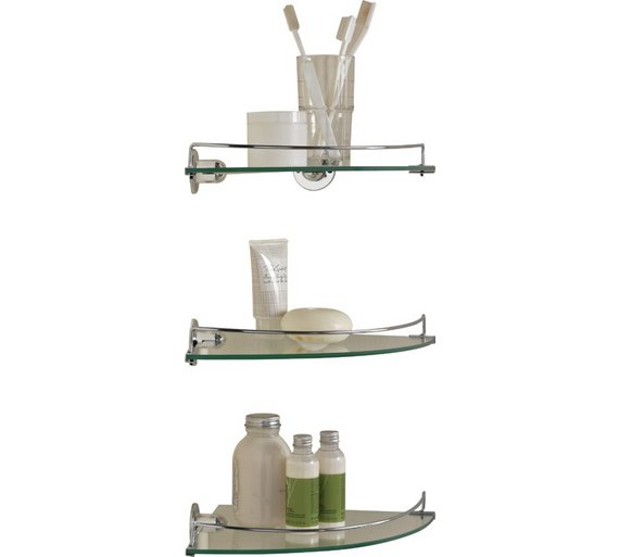Buy Argos Home Set of 3 Glass Corner Shelves | Bathroom shelves and ...