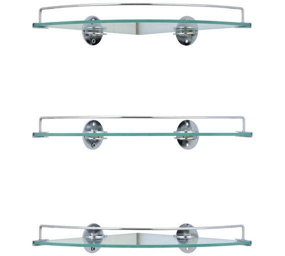 Buy Argos Home Set Of 3 Glass Corner Shelves