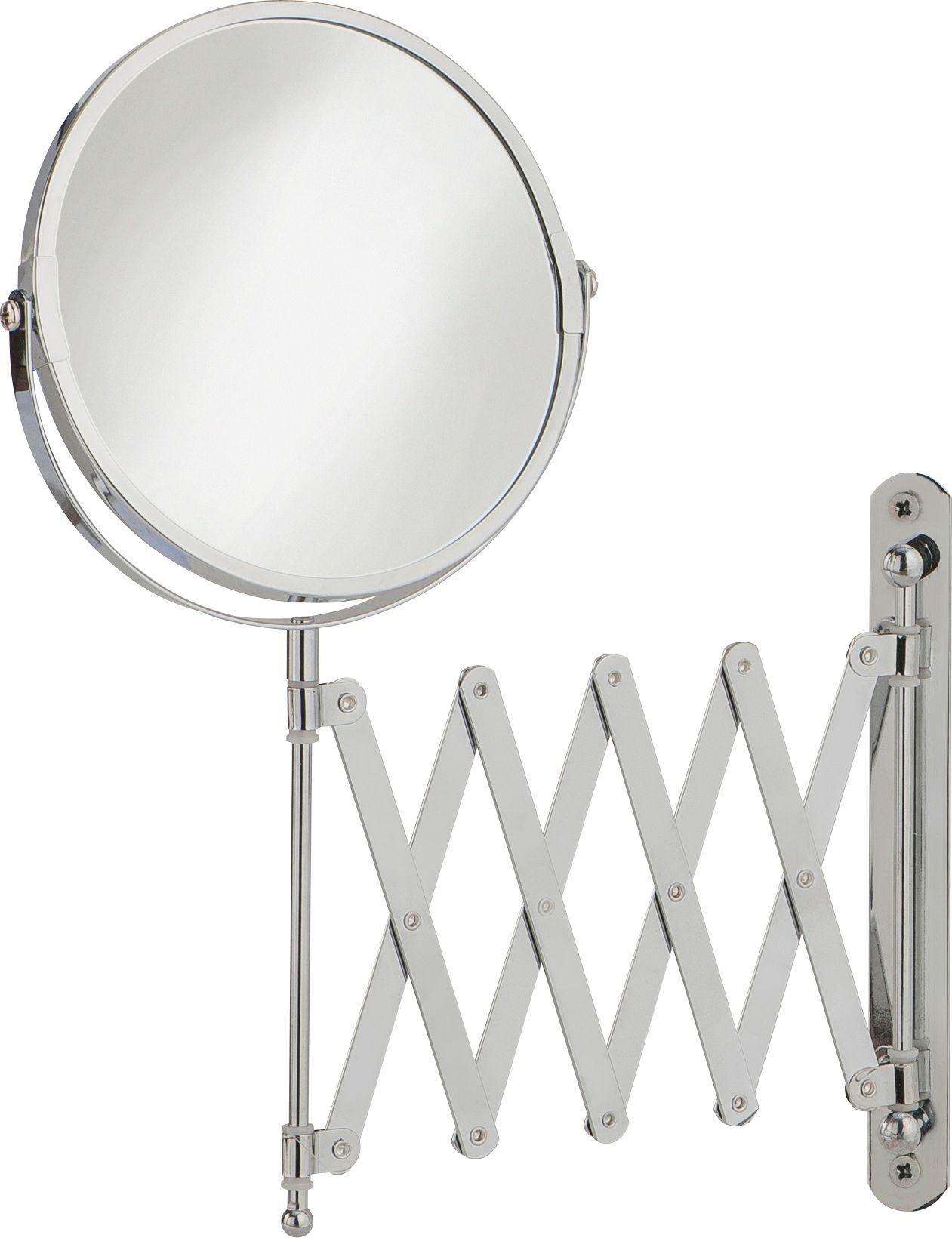 home round extendable chrome shaving mirror
