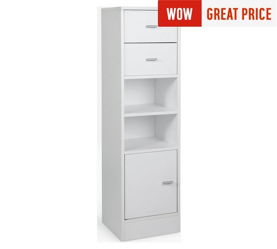 Home Medium 2 Drawer Bathroom Storage Unit White