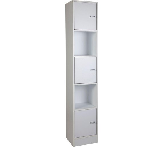 Buy home tall bathroom storage unit white at - White tall bathroom storage unit ...