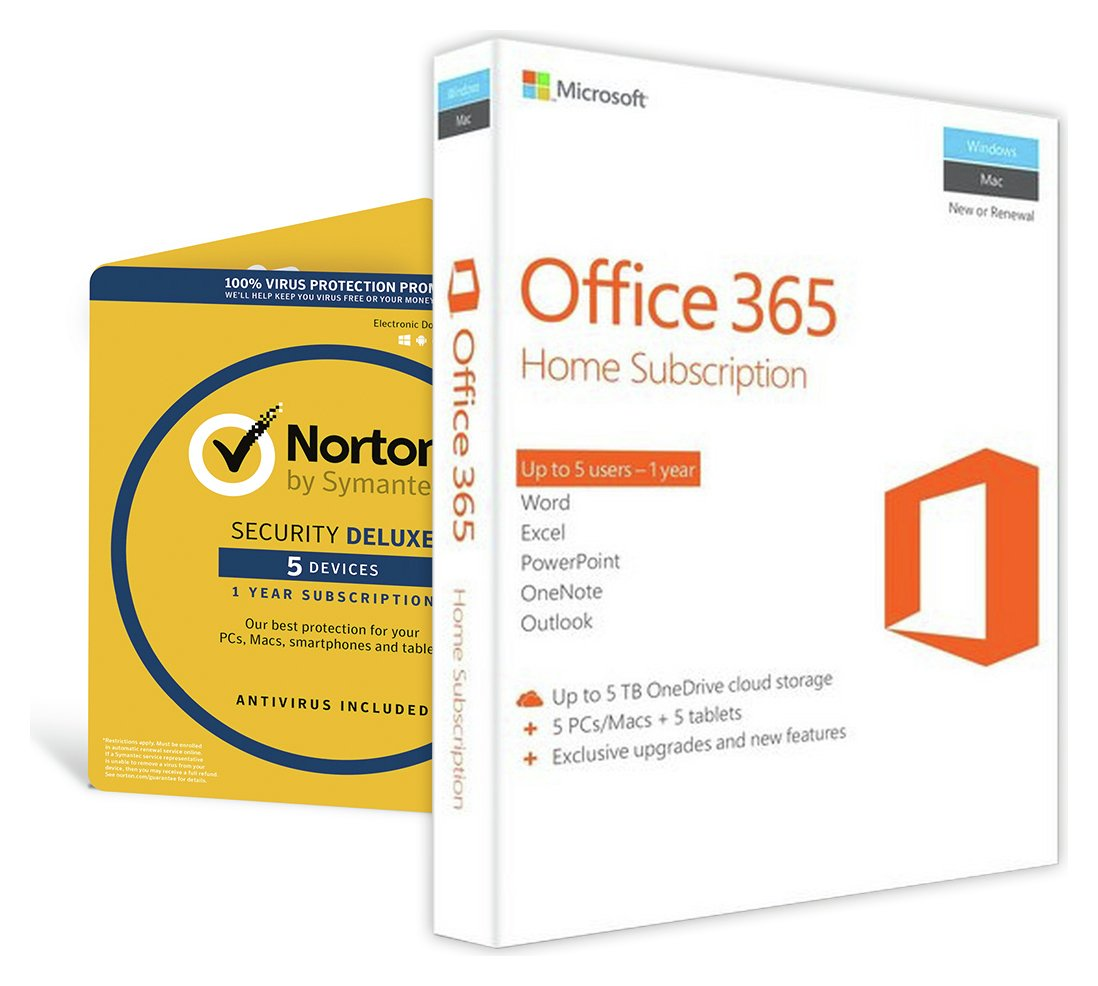 Image of Microsoft Office 365 Home & Norton Security 5 Devices