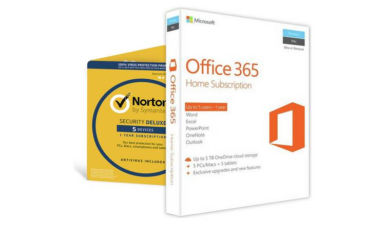 Buy Microsoft Office 365 Home & Norton Security 5 Devices | Laptop and PC  software | Argos
