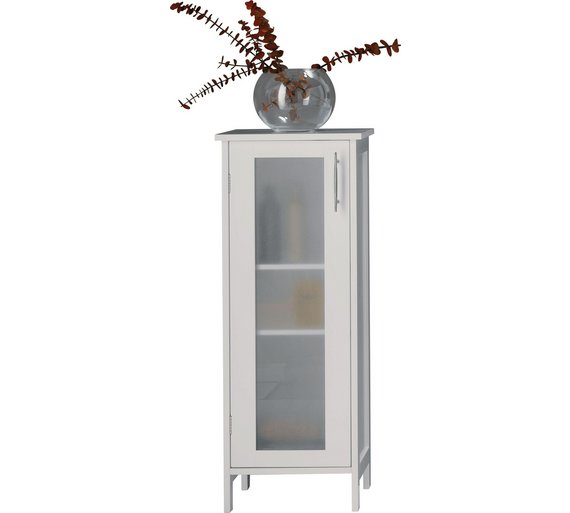 Hygena Frosted Insert Bathroom Floor Cabinet White833 4455