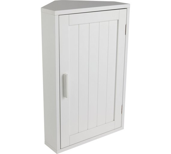 Buy home wooden corner bathroom cabinet white at argos for Bathroom corner cupboard