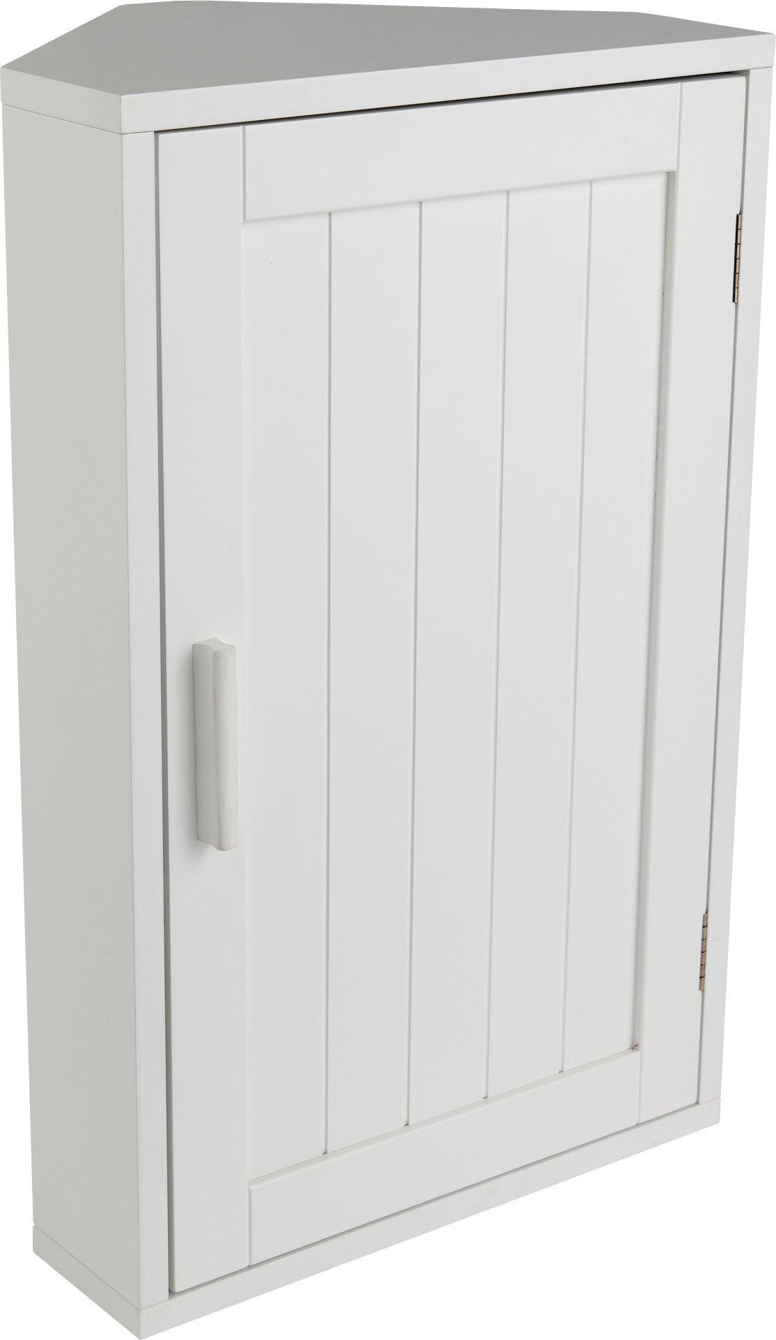 HOME Wooden Corner Bathroom Cabinet   White
