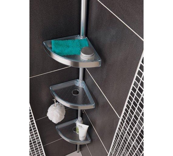 Buy home floor to ceiling aluminium shower organiser pole for Floor to ceiling shower caddy