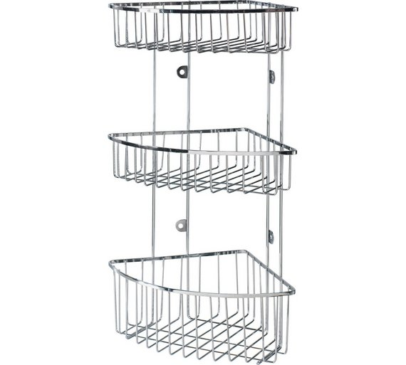 Buy HOME 3 Tier Wall Mounted Chrome Shower Caddy | Bathroom baskets ...