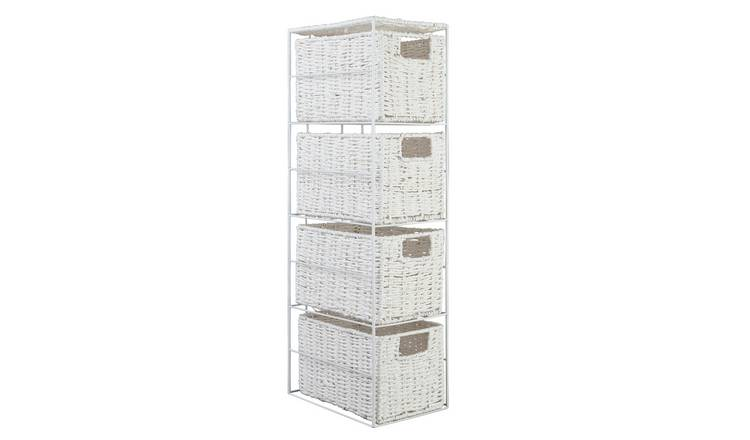 Argos Home Slimline 4 Drawer Storage Tower - White