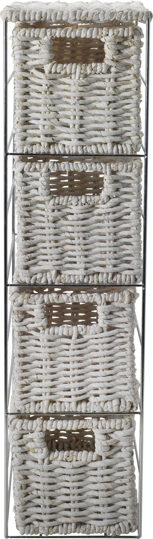 home slimline 4 drawer storage tower white
