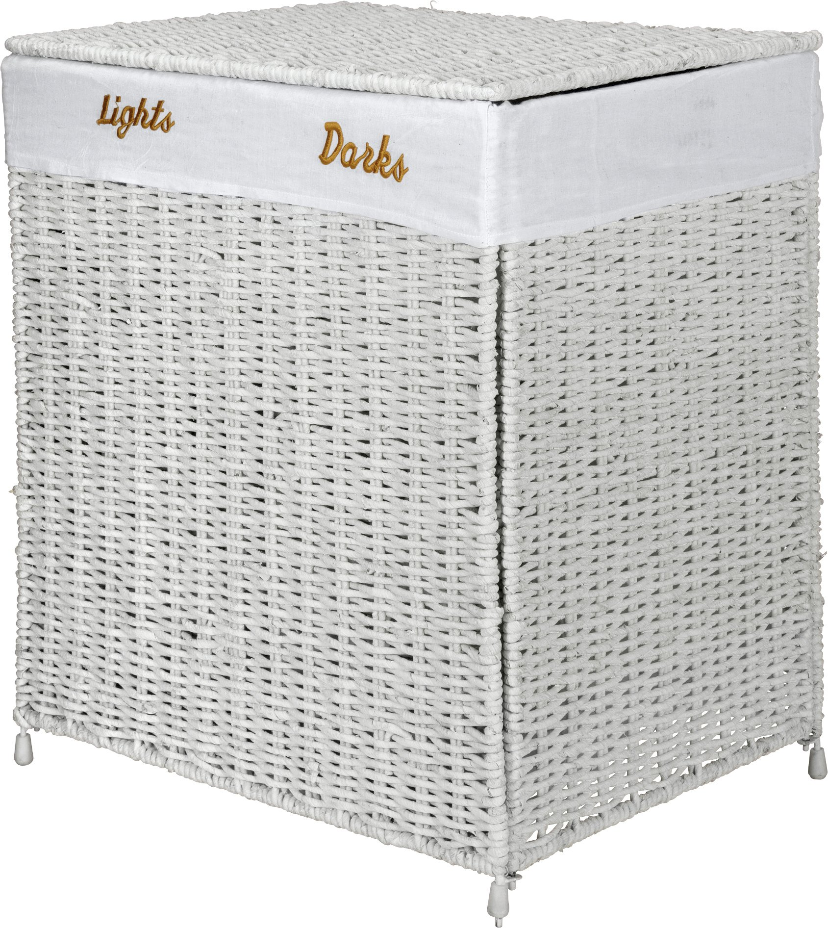 HOME 120 Litre Seagrass Laundry Sorter - White