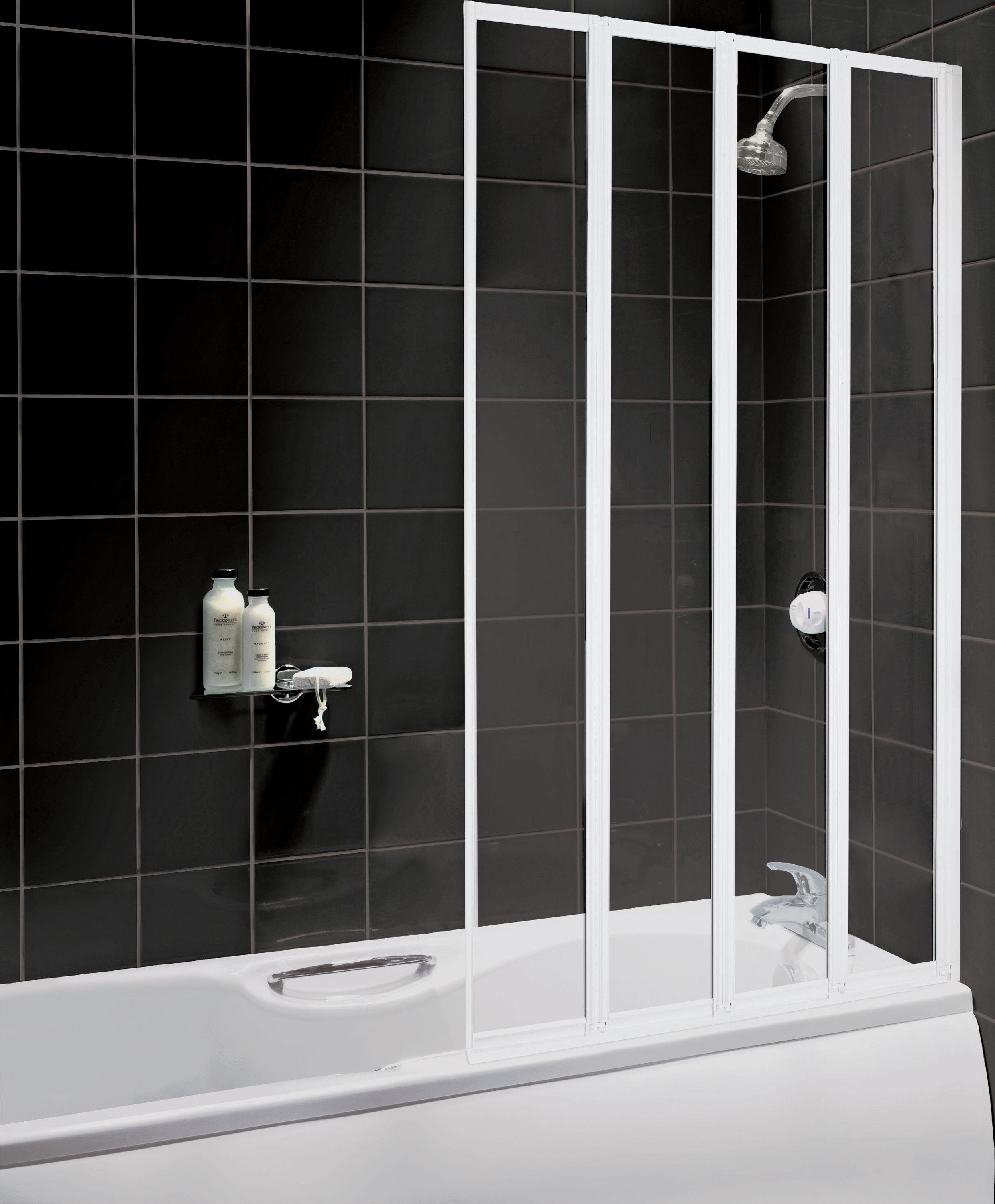 Image of Aqualux Fully Framed White 4 Fold Bath & Shower Screen