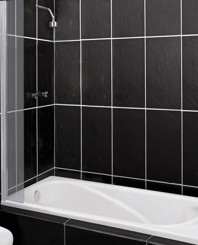 Argos Home Half Framed Silver Single Bath Shower Splashguard