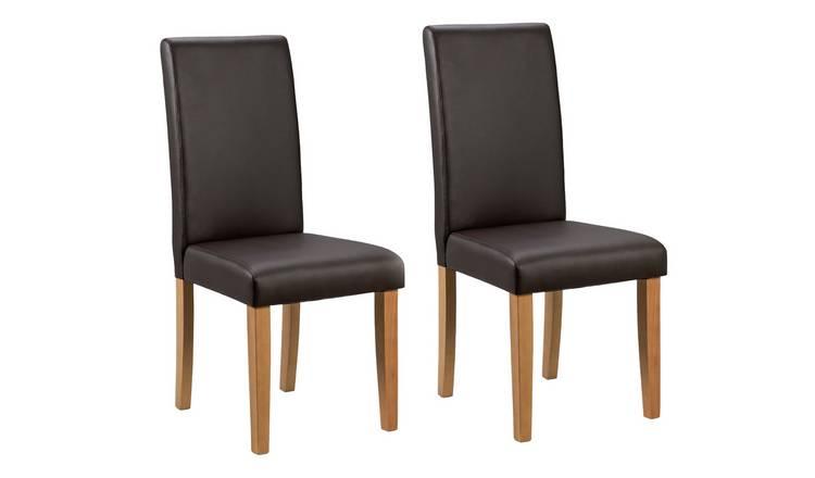 Habitat Pair of Midback Dining Chairs - Chocolate