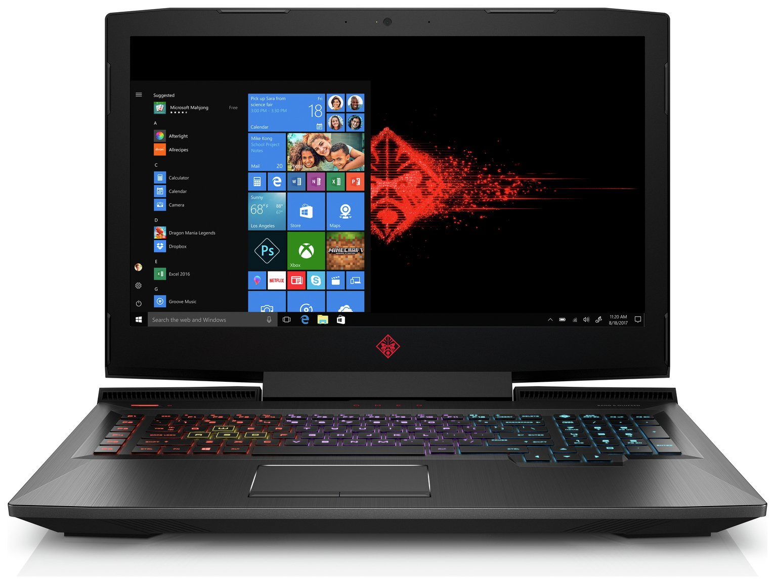 HP Omen 17 Inch i7 8GB 1TB 128GB GTX1050Ti Laptop - Black