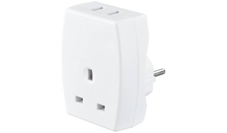 Masterplug USB and UK to European Travel Adaptor