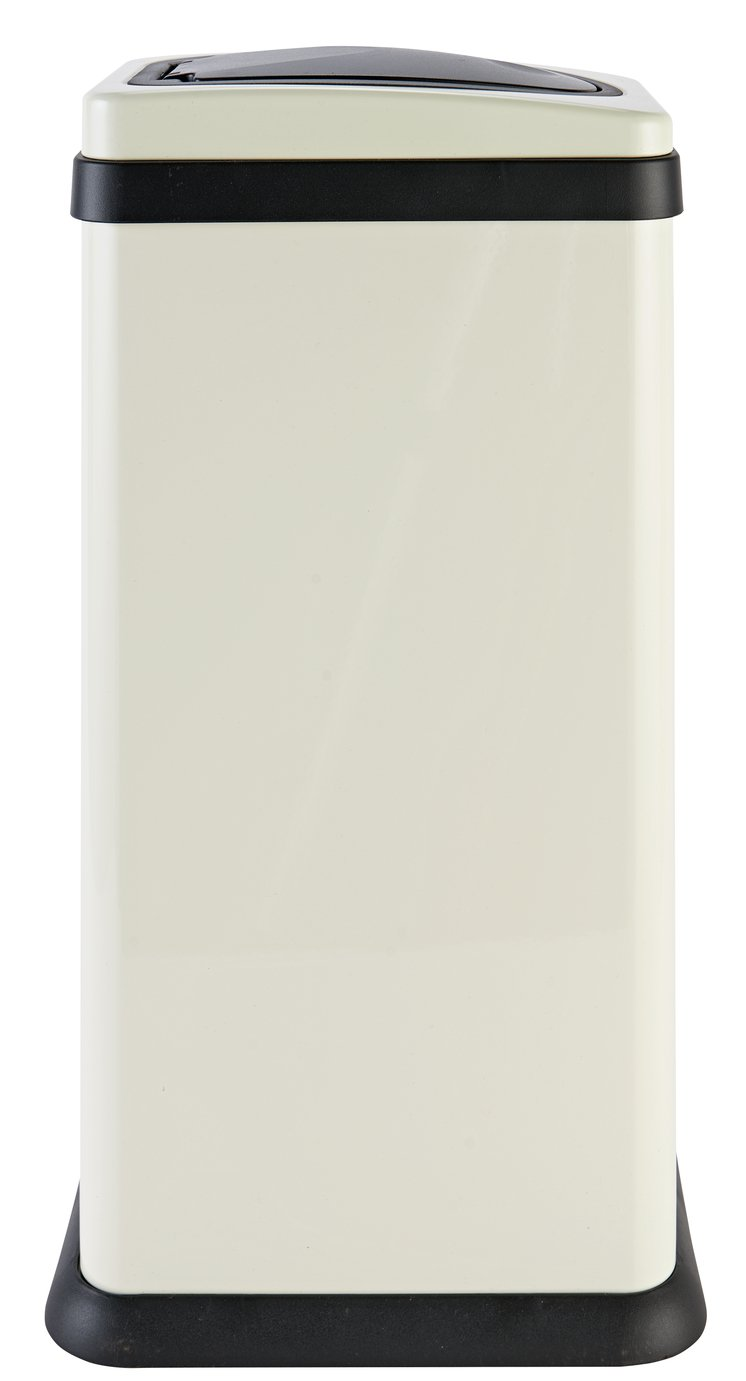 Argos Home 30 Litre Rectangular Touch Top Bin - Cream