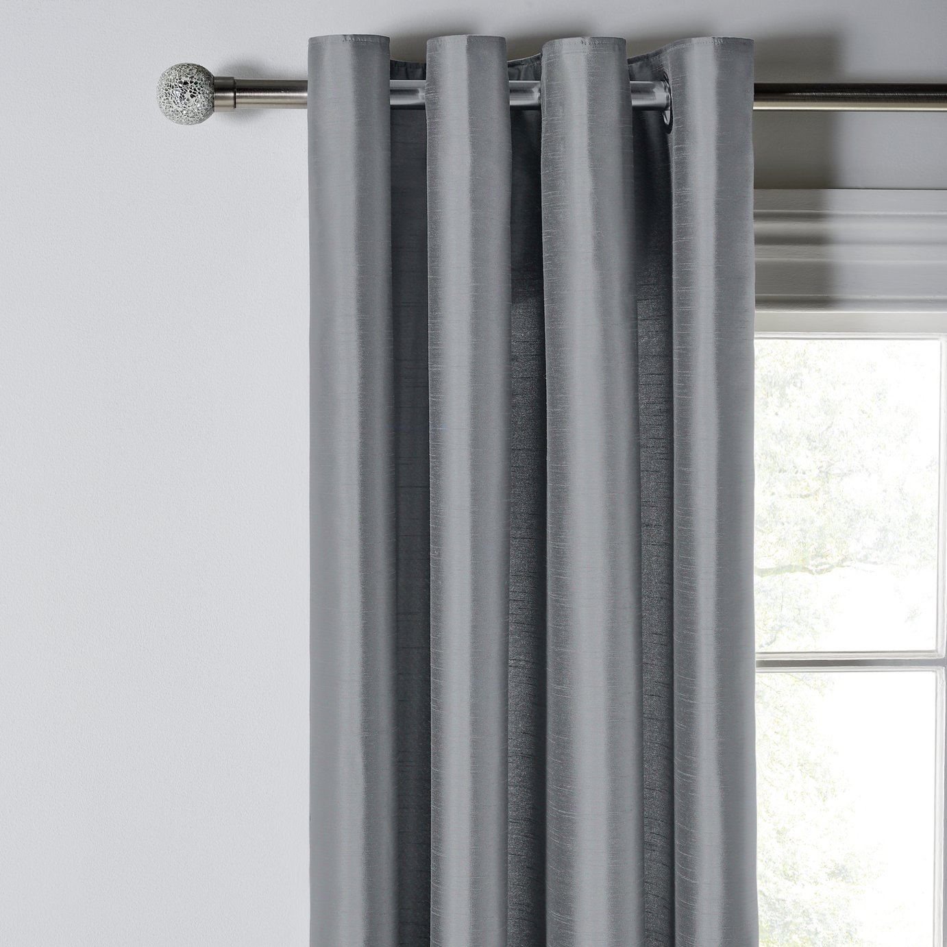 Argos Home Faux Silk Lined Curtains 168x229cm - Dove Grey