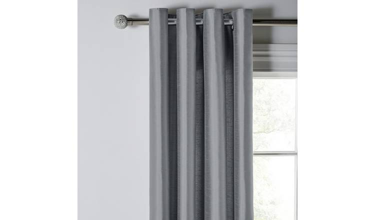 Argos Home Faux Silk Fully Lined Eyelet Curtains - Dove Grey