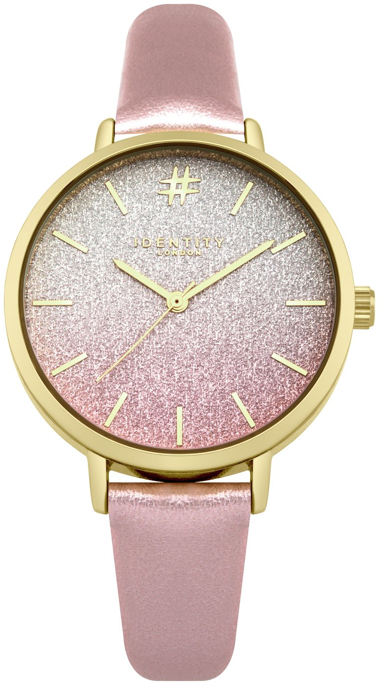 Identity London Ladies' Ombre Pink Glitter Dial Watch