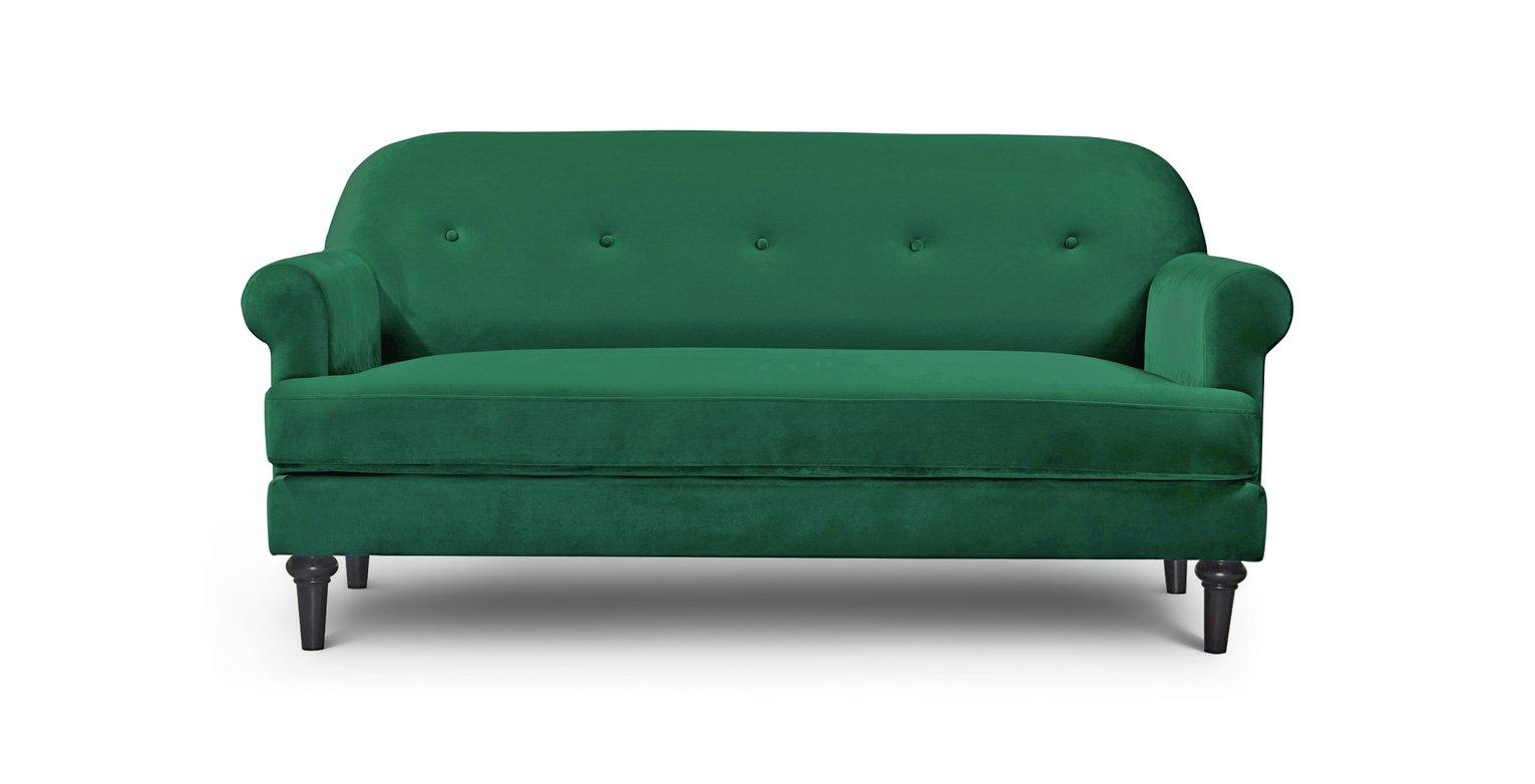 Argos Home Whitney 3 Seater Velvet Sofa - Green