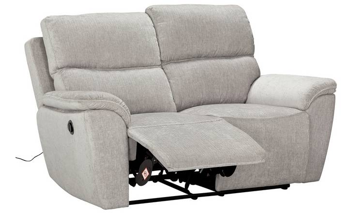 Argos Home Sandy 2 Seater Fabric Power Recliner Sofa -Silver