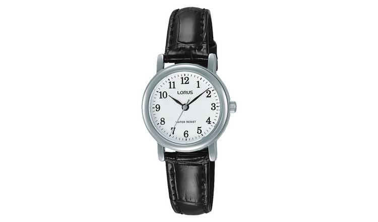 Lorus Ladies  Black Leather Strap Watch