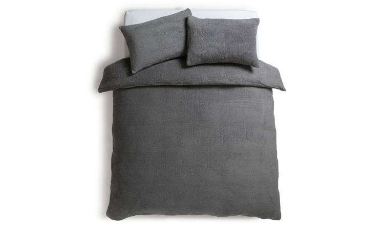 Argos Home Grey Fleece Bedding Set - Single