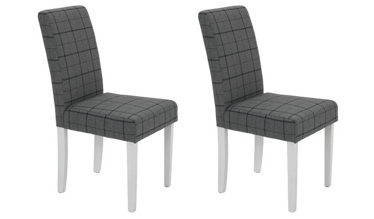 Habitat Pair of Mid Back Dining Chairs -Grey & Blue Check