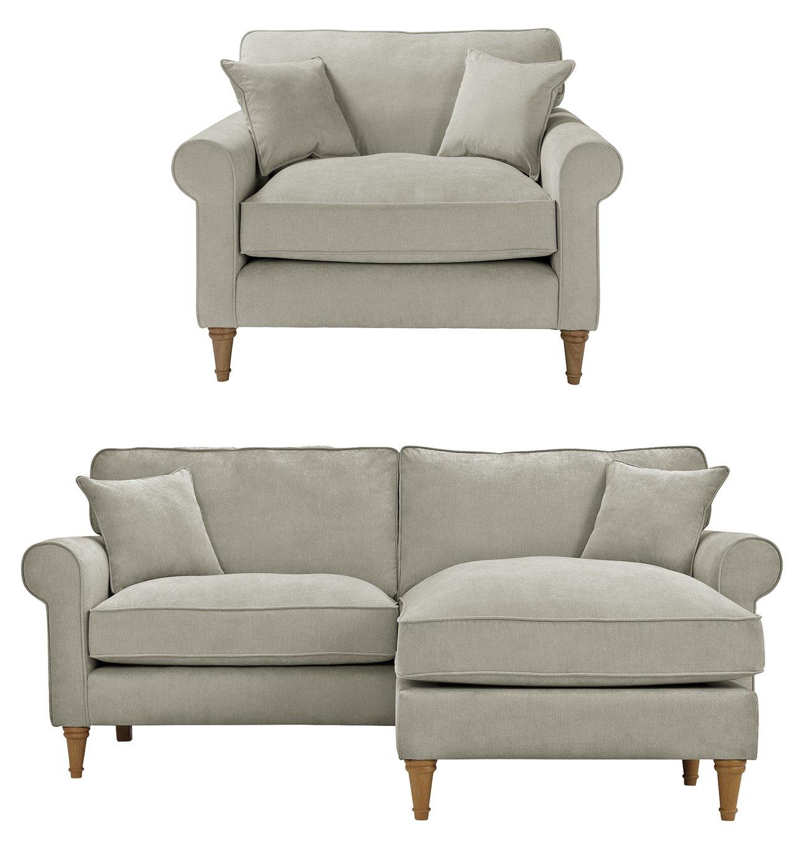 Argos Home William Fabric Chair & Corner Sofa - Grey