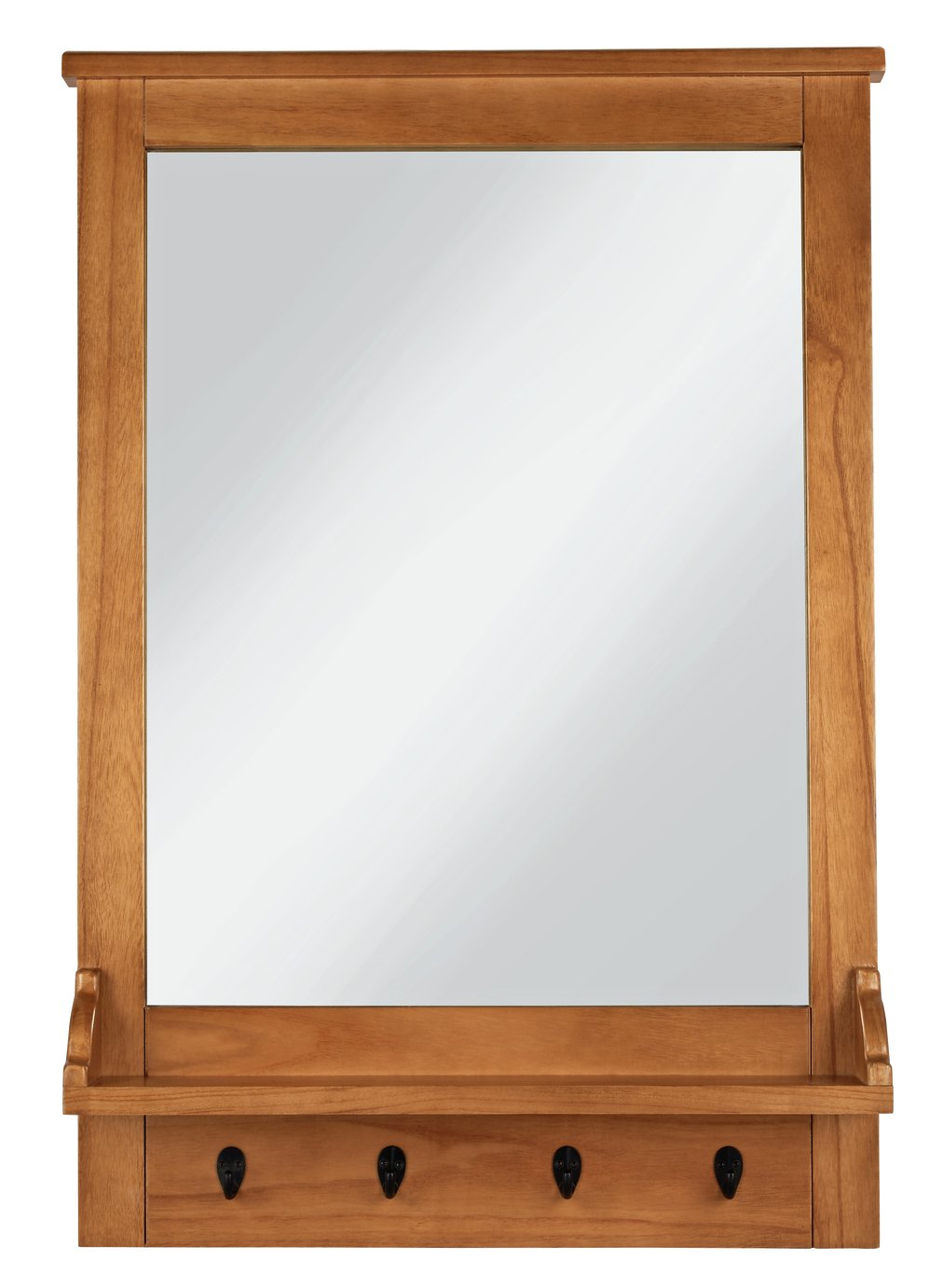 Argos Home Wall Mirror with Hooks - Wood