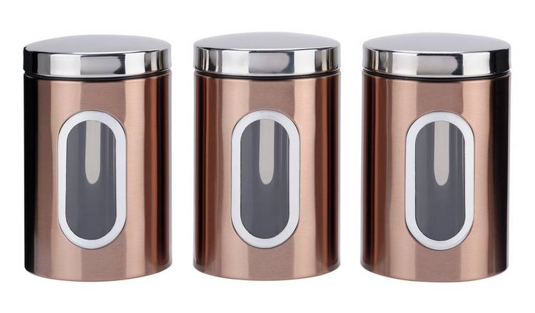 Buy Addis Set Of 3 Storage Jars Black And Copper Storage Jars And Sets Argos