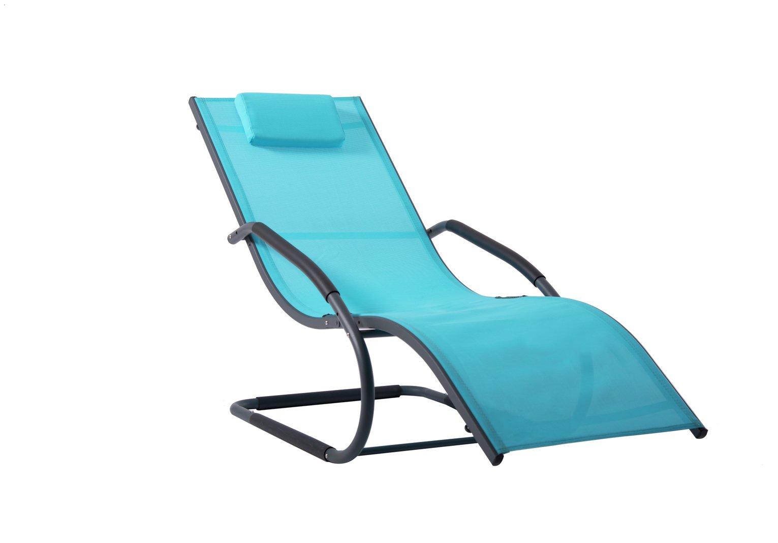 Vivere Wave Metal Sun Lounger - Ocean Blue on Matte Grey